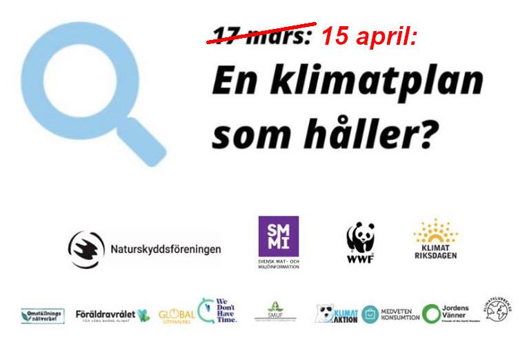 Ändrat datum för seminariet En klimatplan som håller?